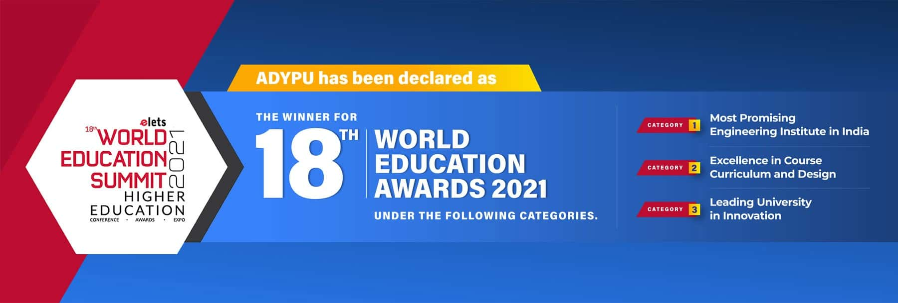 ADYPU th World Education Awards Banner