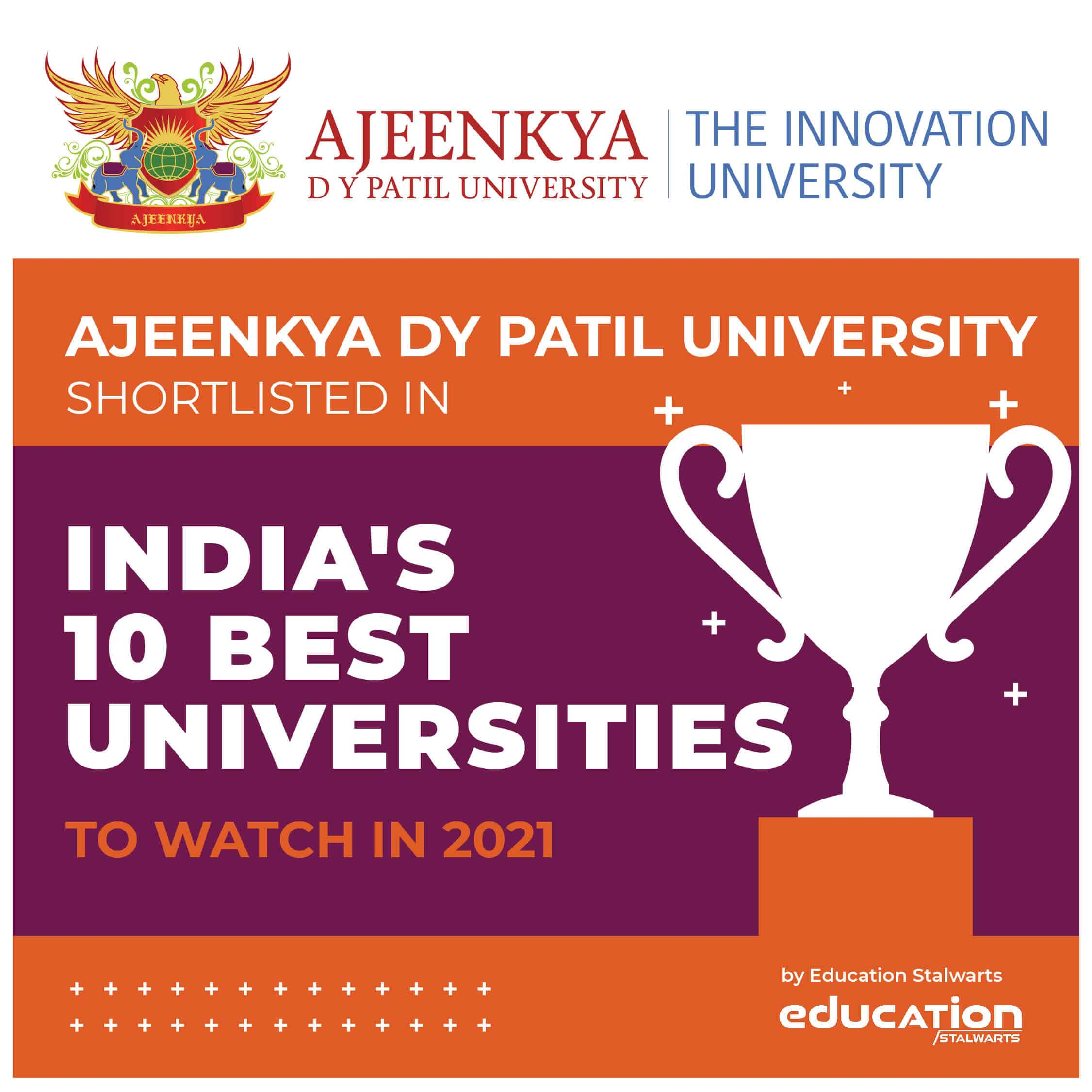 Ajeenkya DY Patil University got shortlisted in India's 10 Best Universities to Watch in 2021 by Education Stalwarts, ADYPU Top University to watch in 2021